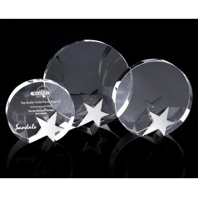 Image of Round Crystal Award with Chrome Star
