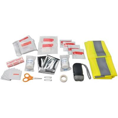 Image of 46 piece first aid kit and professional safety vest