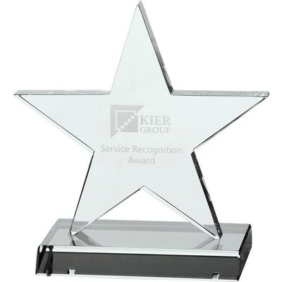 Image of Optical Crystal 5 Pointed Star on Base Award