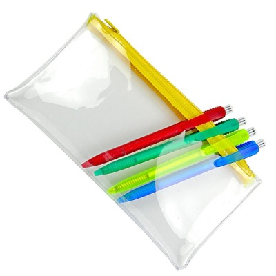 Image of PVC Pencil Case - Clear (Yellow Zip)