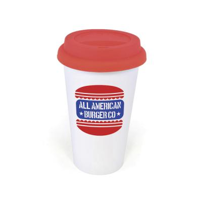 Image of Plastic Take Out Mug 400Ml Double Walled White Plastic Take Out Style Coffee Mug