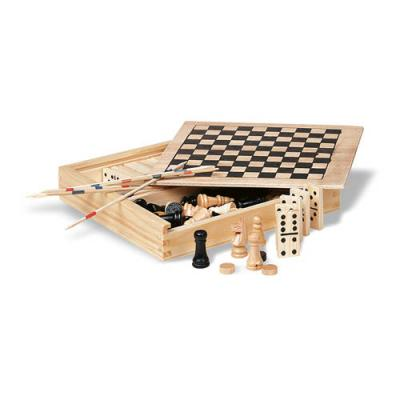 Image of 4 games in wooden box