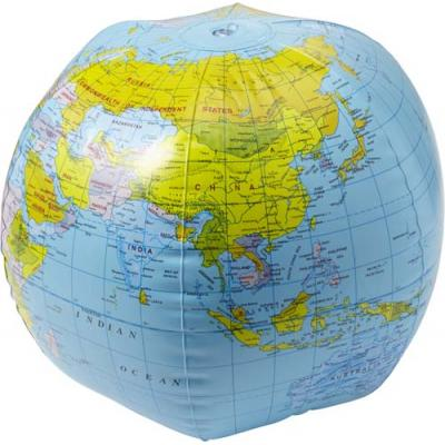 Image of PVC inflatable beach ball with globe print