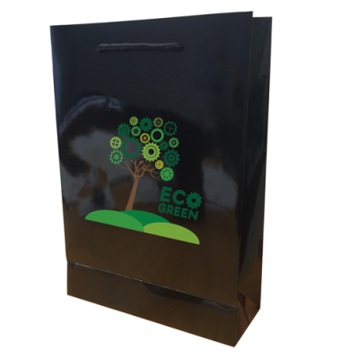 Image of Walton A4 Gloss Laminated Black Paper Carrier Bag