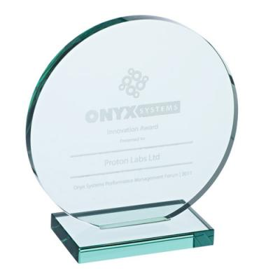 Image of LARGE ROUND JADE GLASS AWARD PLAQUE