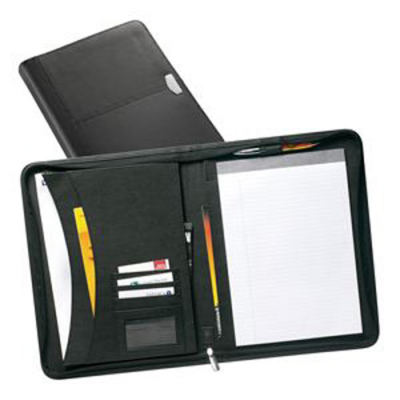 Image of York A4 Zipped Leather Conference Folder