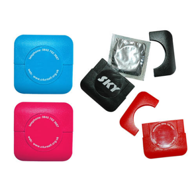 Image of Square Plastic Condom Cases Pad Print