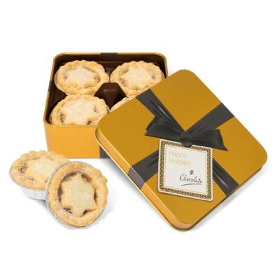 Image of Christmas Gold Square Mince Pie Tin Small