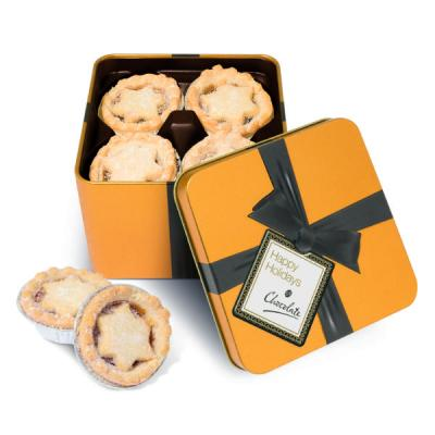 Image of Large Gold Square Tin Mince Pies