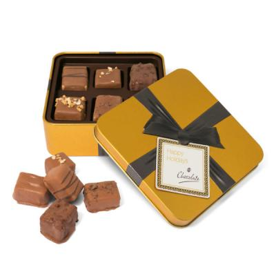 Image of Gold Square Chocolate Tin Small