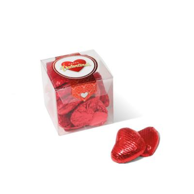 Image of Valentines Cube Red Foil Chocolate Hearts