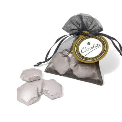 Image of Organza Bag Silver Foil Chocolate Stars