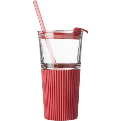 Image of Glass drinking mug with matching straw