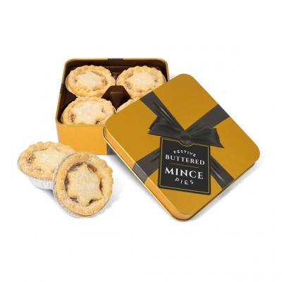 Image of Mince Pies - Small Gold Square Tin